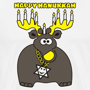 White hanukkah moose-deer  Aprons - Men's Premium T-Shirt