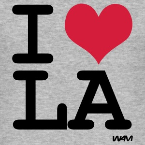 Grau meliert i love los angeles - la by wam Pullover - Männer Slim Fit T-Shirt