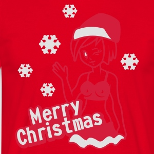 Red Merry Christmas  Aprons - Men's T-Shirt