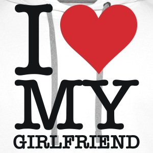White I Love My Girlfriend (2c, NEU) Men's T-Shirts - Men's Premium Hoodie