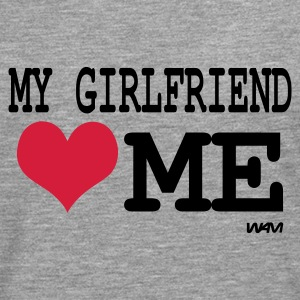 Gris chiné my girlfriend loves me by wam Sweatshirts - T-shirt manches longues Premium Homme