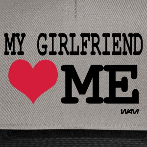 Gris chiné my girlfriend loves me by wam Sweatshirts - Casquette snapback