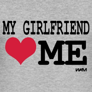 Gris chiné my girlfriend loves me by wam Sweatshirts - Tee shirt près du corps Homme