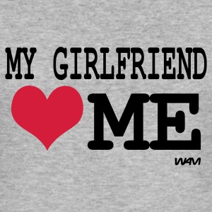 Heather grey my girlfriend loves me by wam Jumpers - Men's Slim Fit T-Shirt