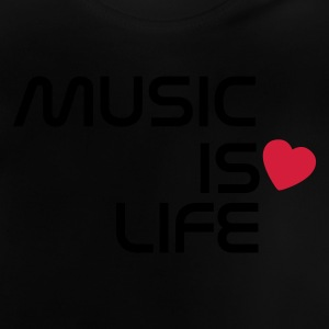 Negro music is life heart ES Camisetas niños - Camiseta bebé