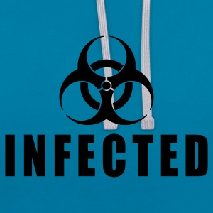 Peacock-blue infected biohazard EN Bags  - Contrast Colour Hoodie
