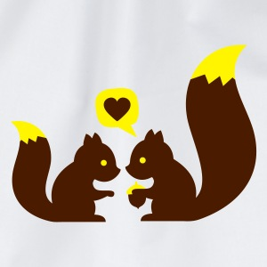 Hvit squirrels in love - to give each other T-skjorter - Gymbag