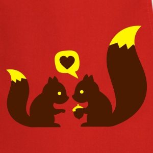 Rouge squirrels in love - to give each other T-shirts - Tablier de cuisine