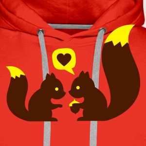 Rouge squirrels in love - to give each other T-shirts - Sweat-shirt à capuche Premium pour hommes