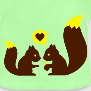 Verde hoja squirrels in love - to give each other Mochilas - Camiseta bebé