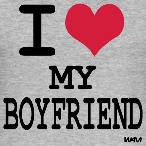 Gråmelert i love my boyfriend by wam Gensere - Slim Fit T-skjorte for menn