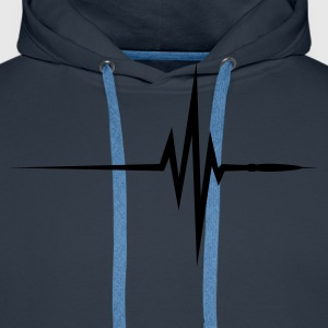 Navy Pulse Beat EKG (1c, NEU) Men's T-Shirts - Men's Premium Hoodie