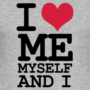 Grau meliert i love me my self and i Pullover - Männer Slim Fit T-Shirt