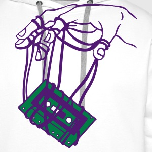 White Hand & tape Men's T-Shirts - Men's Premium Hoodie