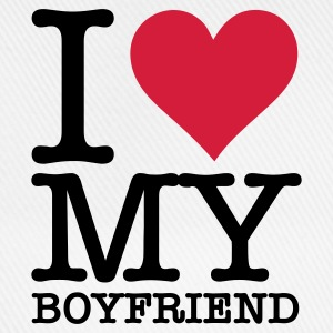 White I Love My Boyfriend (2c, NEU) Men's T-Shirts - Baseball Cap