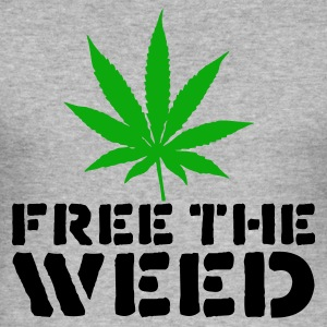 Grå meleret Free The Weed Sweatshirts - Herre Slim Fit T-Shirt