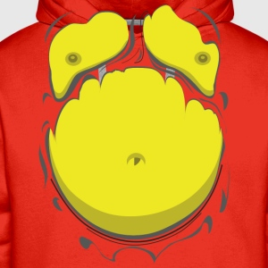 Comic Fat Belly Yellow, beer gut, beer belly, ches - Men's Premium Hoodie