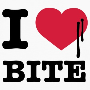 Weiß i love bite © T-Shirts - T-shirt manches longues Premium Homme