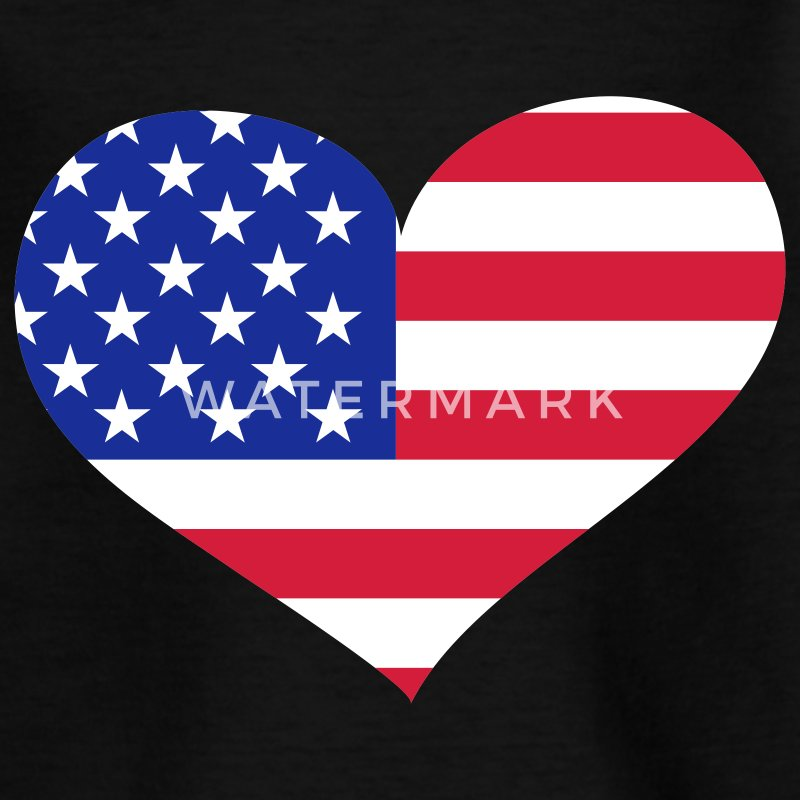 Schwarz USA heart / United States of America heart - eushirt.com Kinder T-Shirts - Teenage T-shirt