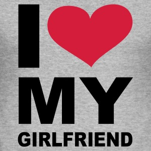 Grau meliert I love my girlfriend - eushirt.com Pullover - Men's Slim Fit T-Shirt