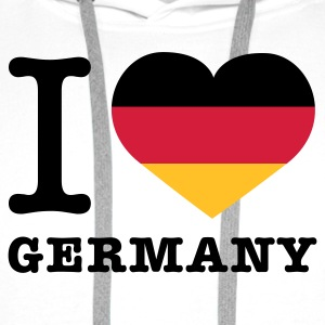 Weiß I love Germany © T-Shirts - Men's Premium Hoodie