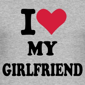 Grau meliert I love my Girlfriend - Freundin Pullover - Männer Slim Fit T-Shirt