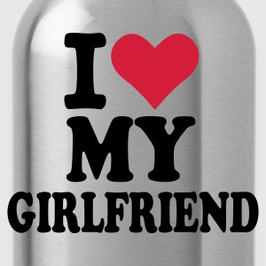 Grau meliert I love my Girlfriend - Freundin Pullover - Trinkflasche