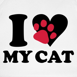 Wit I love my cat - kat, katten T-shirts - Baseballcap