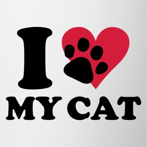 Vit I love my cat - katt, katter T-shirts - Mugg