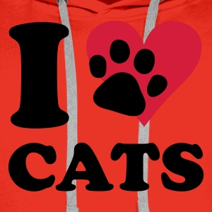 Rood kat - I love cats T-shirts - Mannen Premium hoodie