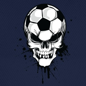 Blu/bianco soccer skull kicker ball football pirat T-shirt - Cappello con visiera