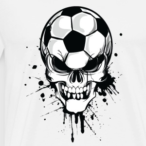 Vit soccer skull kicker ball football pirat Tröjor - Premium-T-shirt herr