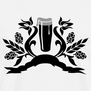 Hvid/sort floral: glas øl / glass of beer (2c) Shirts med lange ærmer - Herre premium T-shirt
