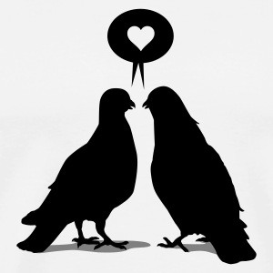 Sky/navy Love saying Doves - Two Birds_2c Langarmshirts - Männer Premium T-Shirt