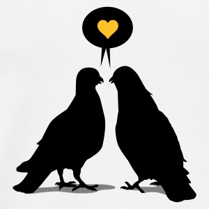 Weiß Love saying Doves - Two Valentine Birds_3c Tassen - Männer Premium T-Shirt