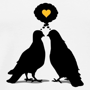 Weiß Love thinking Doves - Two e Birds_3c Tassen - Männer Premium T-Shirt