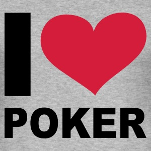 Grau meliert I LOVE Poker - eushirt.com Pullover - Slim Fit T-skjorte for menn