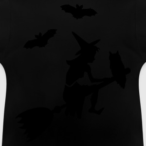 Sort heks, der red en kost / witch on her broomstick (1c) Børne T-shirts - Baby T-shirt