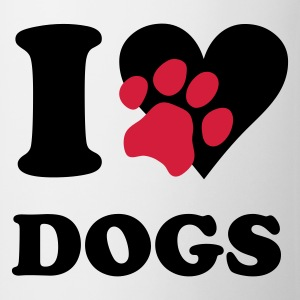 Wit I love dogs - honden, hond T-shirts - Mok