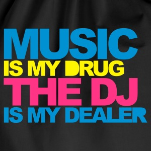 Schwarz Music Is My Drug V4 T-Shirts - Turnbeutel