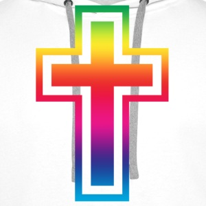 White rainbow_cross Men's T-Shirts - Men's Premium Hoodie