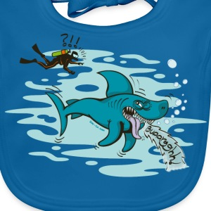 Royal blue Disgusted Shark Kids' Shirts - Baby Organic Bib