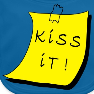 Koningsblauw Stick it note post-it kiss it! Kinder shirts - Bio-slabbetje voor baby's