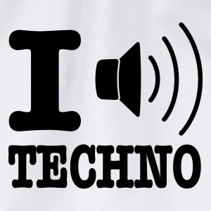 Bianco I love techno / I speaker techno Grembiuli - Sacca sportiva