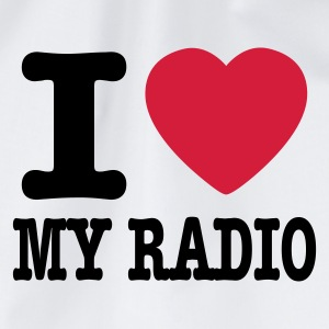 White i love my radio / I heart my radio Kids' Shirts - Drawstring Bag