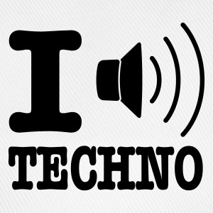 Bianco I love techno / I speaker techno Pullover - Cappello con visiera