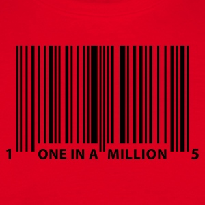 Red barcode_one_in_a_million_1c  Aprons - Men's T-Shirt