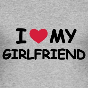 Grau meliert I Love My Girlfriend Pullover - Männer Slim Fit T-Shirt