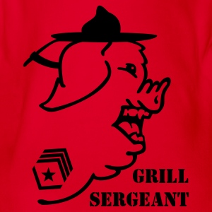Red Feldwebel Schwein / grill sergeant pig (1c) Kids' Shirts - Organic Short-sleeved Baby Bodysuit
