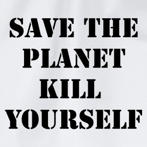 Weiß/navy save the planet kill yourself T-Shirts - Turnbeutel